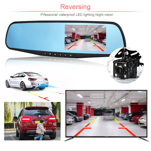 car dvr/dash camera dual cameras mirror car video surveillance dashcam full hd dash cam mirror car dvr mirror dual lens recorder