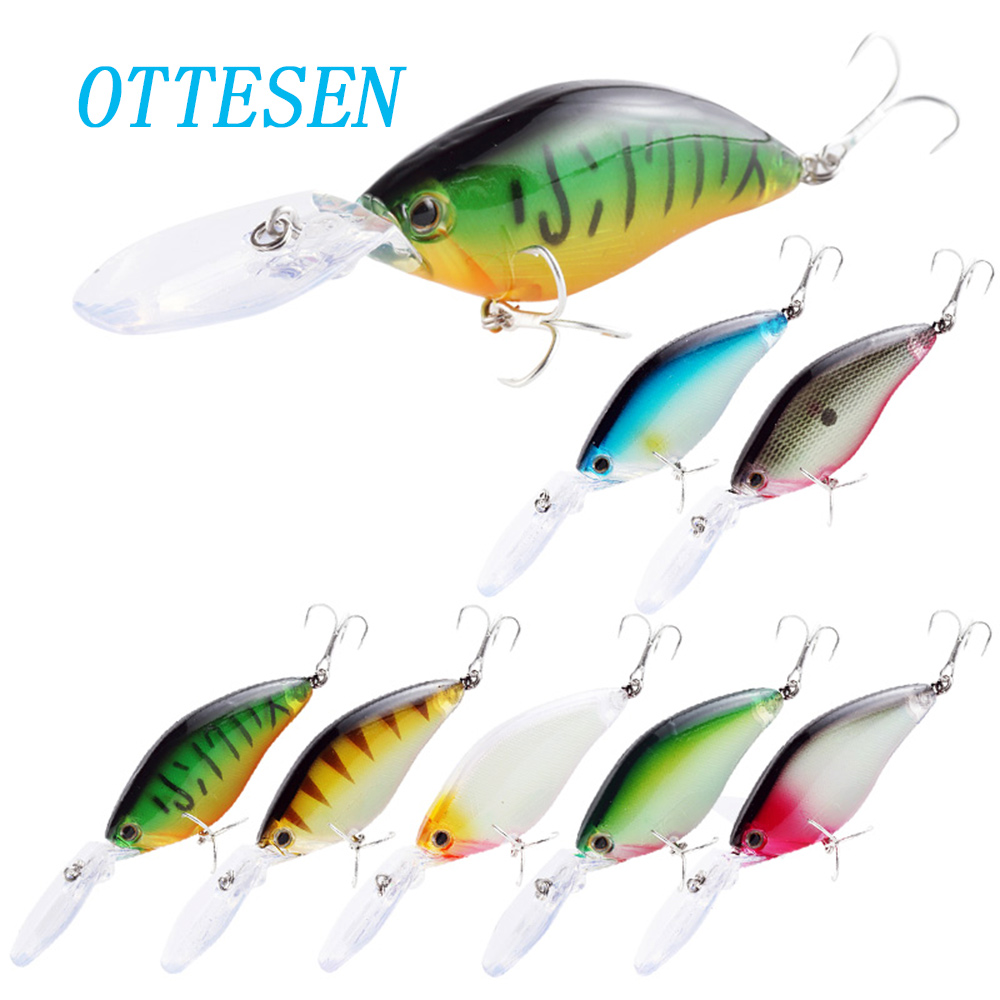 OTTESEN 5pcs/lot 113mm 18.3g crankbait fishing lure set professional quality bass swimbait wobblers floating deep diving pesca