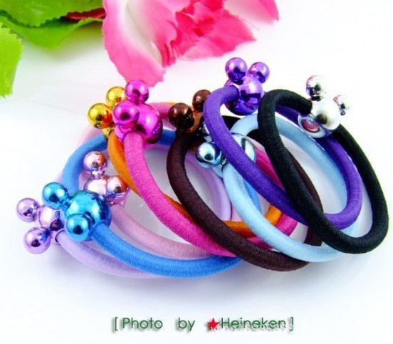 D3033 candy colored Stylish Glistening Micky Hair Accessory Elastic Hair Bands for Girls and ladies Headwear Ornament