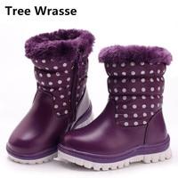 Tree Wrasse Winter Fashion Children Snow Boots Kids Warm Plush Rabbit Hair Baby Girls Cotton Shoes
