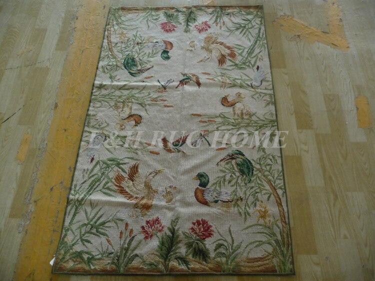 Livraison gratuite 10 K 3'x5 'tapis en laine faits à la main tapis canard mandarin et brids
