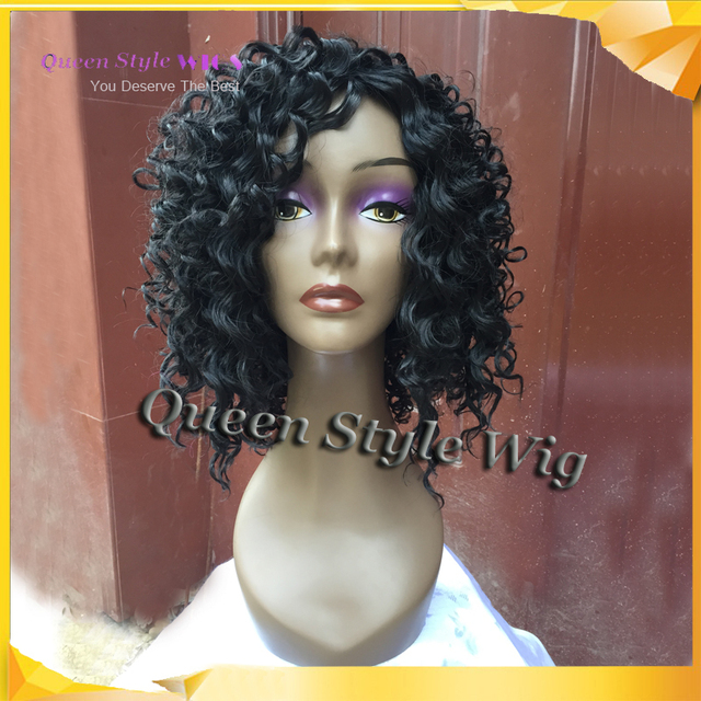 Synthetic Jet Black 1 African Dirty Hair Short Corkscrew Curl Wig