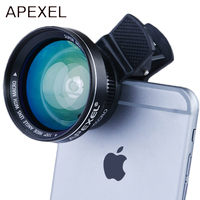 APEXEL 12.5x Super Macro Lens with 0.63x Super Wide Angle Lens HD for iPhone7/8/X Samsung Galaxy xiaomi redmi5 smartphone lens