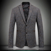 Los más nuevos hombres Blazers 2018 otoño lana Mens Blazers moda dos botones trajes Caballero partido Slim Fit Blazer Brown M-XXXL 1760