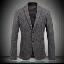 Newest Men Blazers 2019 Autumn Woolen Mens Fashion Two Buttons Gentleman Suits Slim Fit Party Blazer Brown M-XXXL 1760