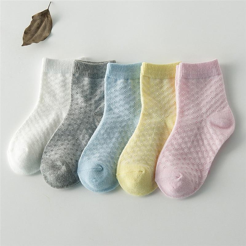 5 Pairs/lot Spring Summer New Kids Cotton Socks. Boy Girl Fashion Ultrathin Mesh Socks.For 1-12 Years Children Socks Gifts CN