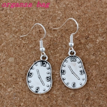 Melting Clock Earrings Silver Fish Ear Hook 24pairs/lot Antique Chandelier Jewelry 13x39mm A-203e