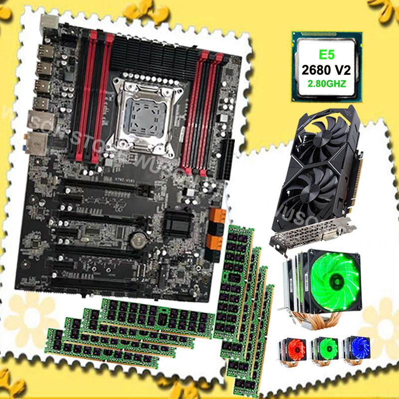 Best Brand X79 Motherboard Combo For Gaming PC Intel Xeon E5 2680 V2 SR1A6 CPU Cooler 8*16G 1600MHz RECC Video Card GTX1050Ti 4G
