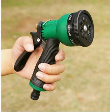 Πλαστικό χαλκό πολλαπλών λειτουργιών 8 Μοτίβο νερού ακροφύσιο Νοικοκυριό Κήπος Πλύσιμο αυτοκινήτου Νερό Πυροβόλο όπλο ψεκασμού