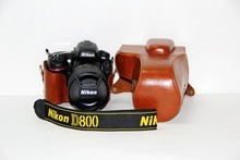 Factory New PU Leather Camera Case Cover w/ Storage Case For DSLR Nikon D810 D800 (24-70mm) Lens Bag Brown Free Shipping