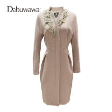 Фотография Dabuwawa middle long embroidery woolen coat