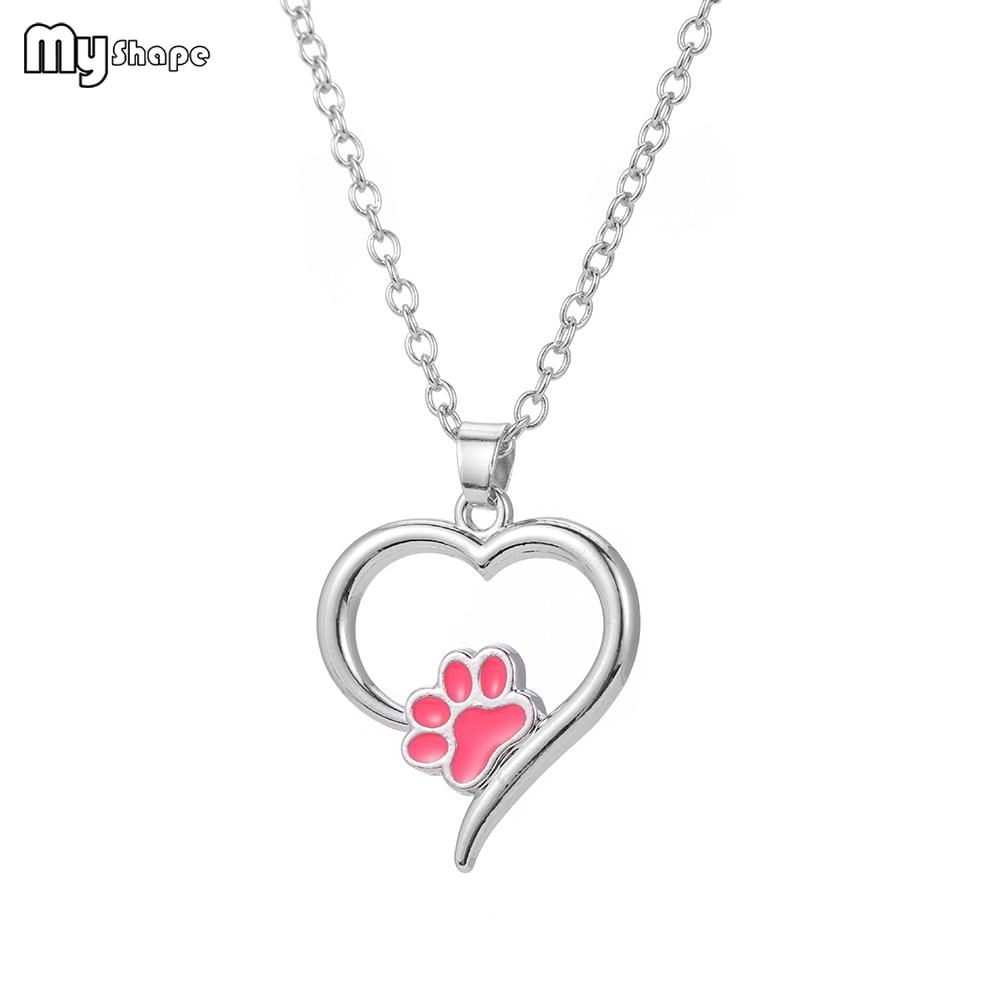 Mein Form Pet Memorial Schmuck Immer in meinem Herzen Hund Katze Fuß Haustier Pfote Druck Herz Haustier Liebhaber Anhänger Halskette tier Andenken