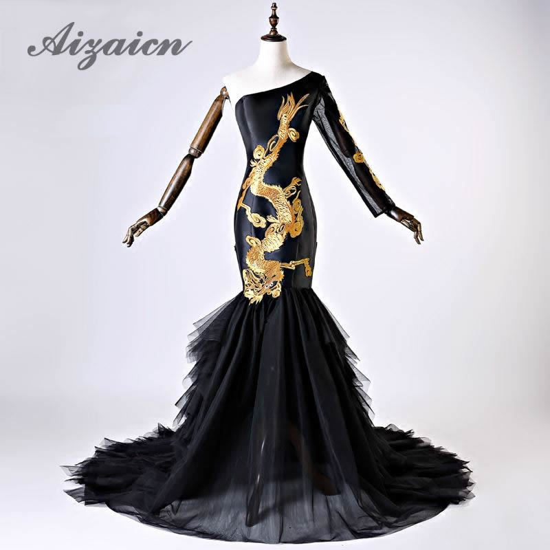 Aliexpress.com : Buy Luxury Black Wedding Dress 2018 Gold Phoenix ...