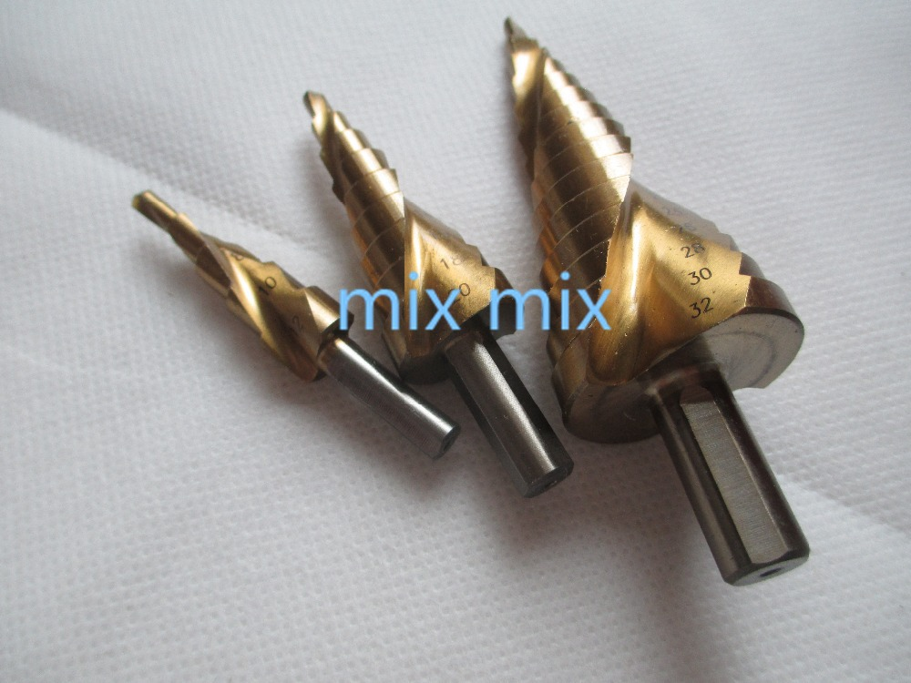 3 PCS TRIANGLE SHANK HSS SPIRAL GROOVED STEP DRILL SET 4-12MM 4-20MM 4-32MM TITANIUM 3pcs hss spiral grooved step drill bits round shank 4 12 4 12 4 20 step drill