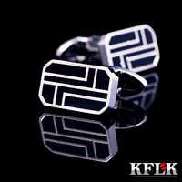 KFLK 2019 de moda caliente camisa gemelos para los hombres regalos de marca botones brazalete negro enlaces de alta calidad abotoaduras joyería