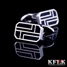 hot deal buy kflk jewelry 2014 hot shirt cufflinks for men's gifts brand cuff buttons black cuff links high quality abotoaduras free shipping