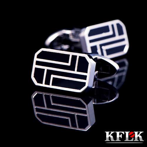 KFLK abotoaduras da camisa para homens Moda 2019 QUENTE Presentes Marca botões de punho Preto abotoaduras de Alta Qualidade abotoaduras Jóias