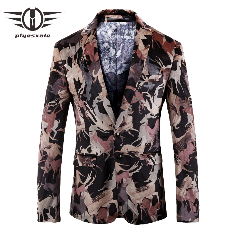 Plyesxale Men Blazer 2018 New Fashion Prom Blazers For Men High Quality Autumn Mens Blazers Casual Suit Jacket Two Button Q153