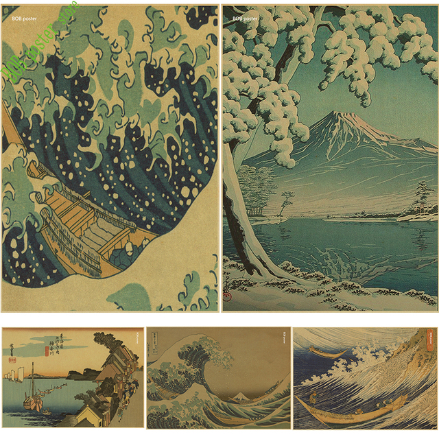 c5b96f2781829 Japanese The Great Wave off Kanagawa classic art vintage poster Canvas  Fabric Printing Wall Art Decor Home Decals Wallposter