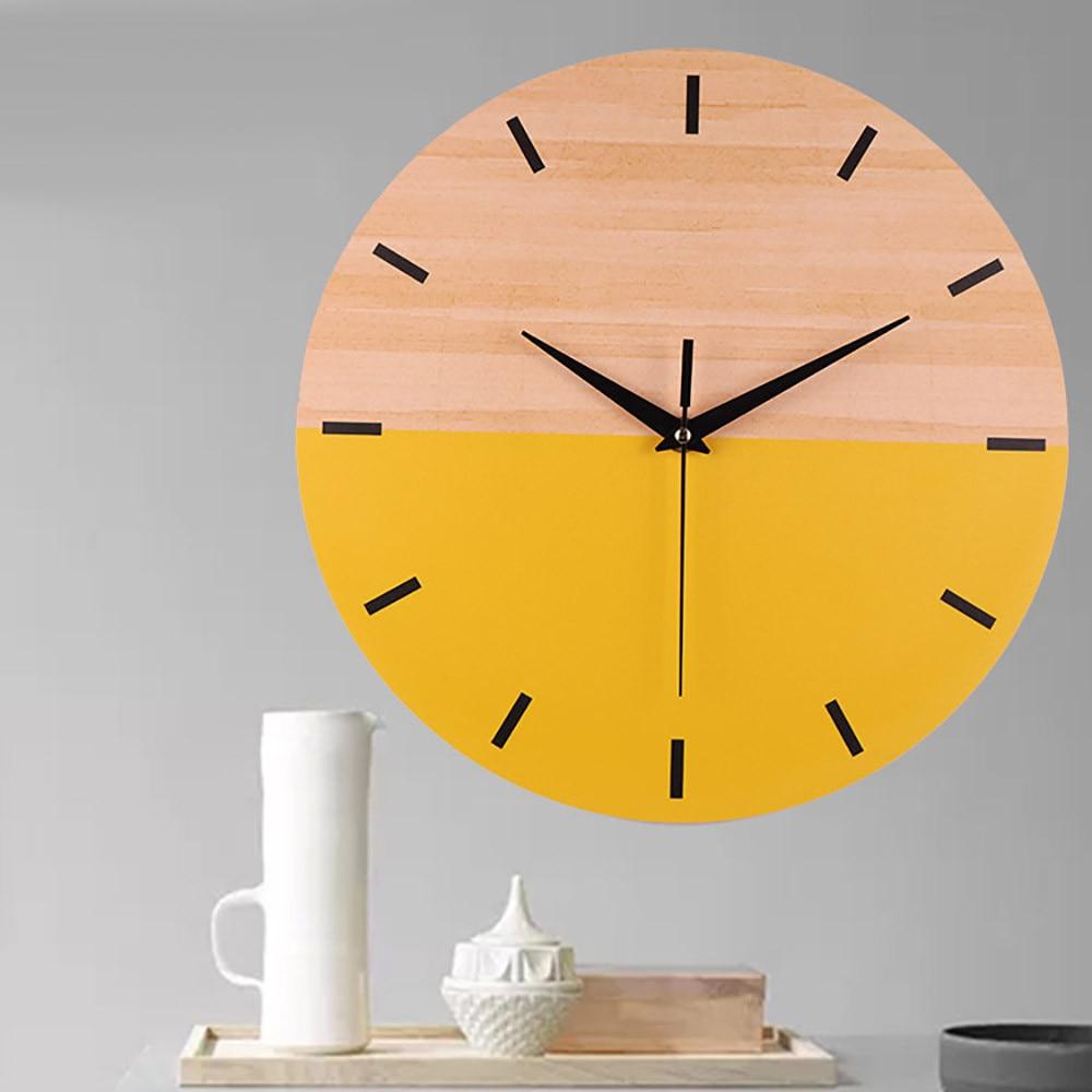 Wood Grain Wall Clocks Silent Modern Elegant Creative Clock Home ...