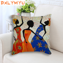 Africa Painting Art Impression Exotic Style Throw Pillow Cotton Linen African Dancer Cushion For Sofa Home Decoration