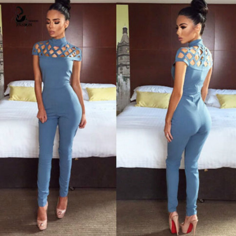 Women Elegant Mesh   Jumpsuits   Short Sleeve Hollow Out Slim Summer Pencil Jumpersuits Feminino Casual Solid Long Playsuits
