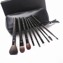 קוריאני אופנה 9Pcs עיזים שיער איפור מברשות עם נרתיק עור מקצועי גבות שפתיים האף עפעף ערכת מברשת מתנה
