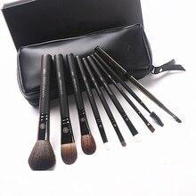 Korean Fashion 9Pcs Ziegenhaar Make Up Pinsel mit Ledertasche Berufs Augenbraue Lip Nase Wimpern Make up Pinsel Kit geschenk