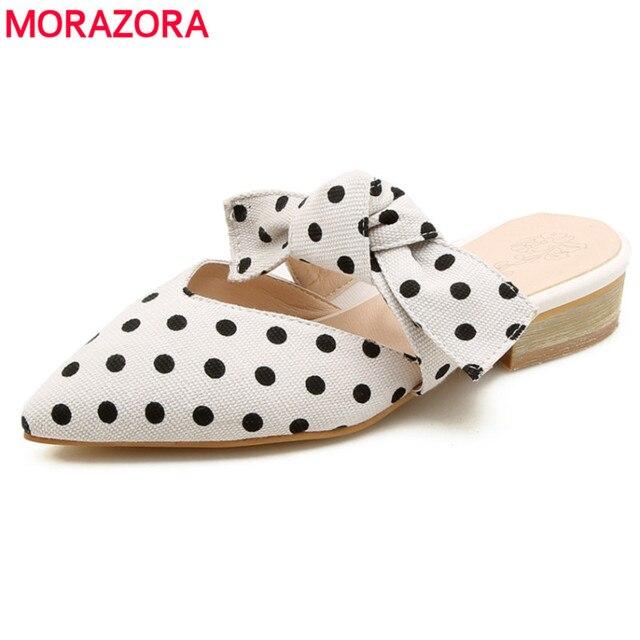 MORAZORA Büyük boy 34-44 yeni moda ayakkabılar kadın sandalet ile sivri burun papyon yaz bayanlar katır seksi düğün ayakkabı