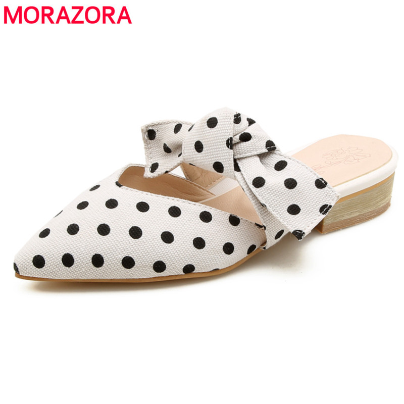 MORAZORA Large size 34-44 new fashion shoes women sandals pointed toe with bowtie summer ladies mules sexy wedding shoes morazora eur size 34 41 new fashion genuine leather shoes woman slip on wedges women sandals peep toe mules summer lady shoes