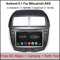Quad Core Android 5.1 DVDติดรถยนต์สำหรับมิตซูบิชิASXวิทยุ2010-2014กับระบบนำทาง,บลูทูธวิทยุสนับสนุนMirrorlink 16กิกะไบต์