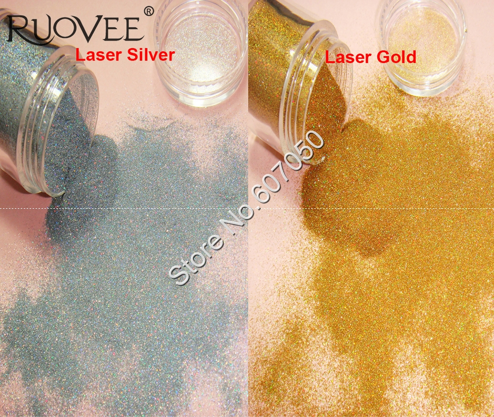 5g/BOX-0.05MM Holographic Laser Silver Gold Cosmetic Nail Glitter Dust Powder for Gel Nail Polish Glitter Craft Decoration