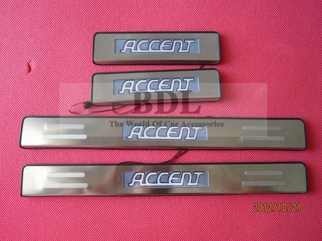 Free shipping Stainless Steel LED car Scuff Plate/door sill/Door pedal for 2006- 2012 Hyundai ACCENT,4pcs/pack retail&wholesale