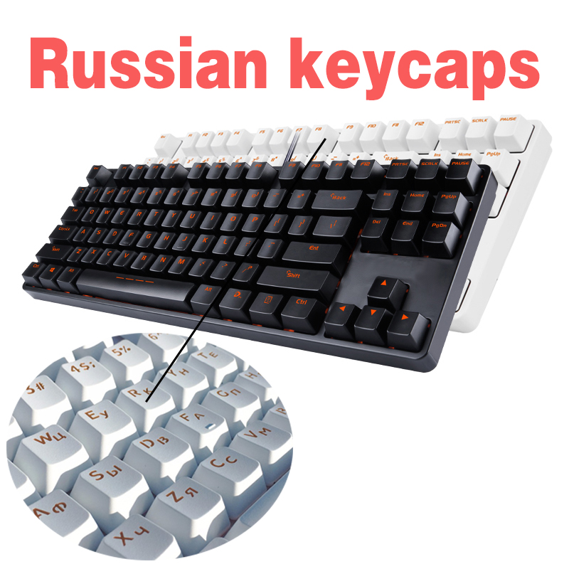 Skillful Knitting And Elegant Design Fine Black White Abs Russian Languag Keycaps And Pbt English Keys For Cherry Mx Switches Mechanical Keyboard Caps 108 Key Cap To Be Renowned Both At Home And Abroad For Exquisite Workmanship Slips