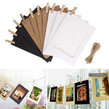 Cadre Photo en papier Kraft suspendu de 5 à 7 pouces, 10 pièces, cadre Photo en papier Kraft suspendu avec Clips et corde, accessoires de cabine Photo