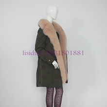 100% real fur coat, rabbit lining and fox has detachable length 85cm, sleeve 60cm, natural for women winter coat