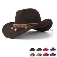 Ковбойская шляпа в западном стиле для женщин, скручивающаяся, с полями, элегантная, для женщин, чародейка, Outblack, Sombrero Hombre, джазовая Кепка, размер 56-58
