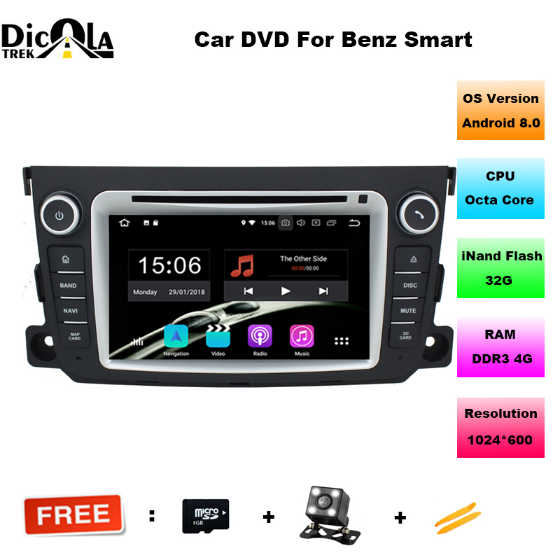 Android 8 0 Two Din 7 Inch Car DVD Player Stereo System For Mercedes Benz Smart