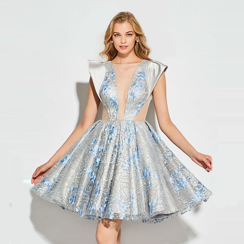 Weddings & Events Mini Short Cocktail Dresses 2019 Silver Asmkmertrical Halter Neck Formal Party Prom Gown Sexy Sequined Robes De Longueurs Genoux