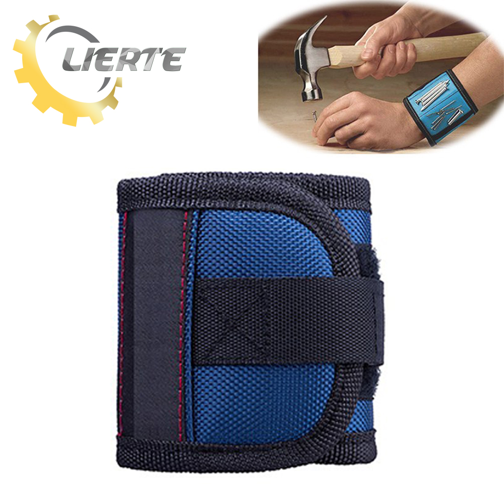 Lierte Magnetic Wristband Band Tool Belt Bracelet Screw Kit Bag Electrician Wrist Tools Nails Drill Bits Holder Holding Repair jm x4 components adsorption bracelet powerful magnetic wristband hold small metal nuts washers screws nails jakemy