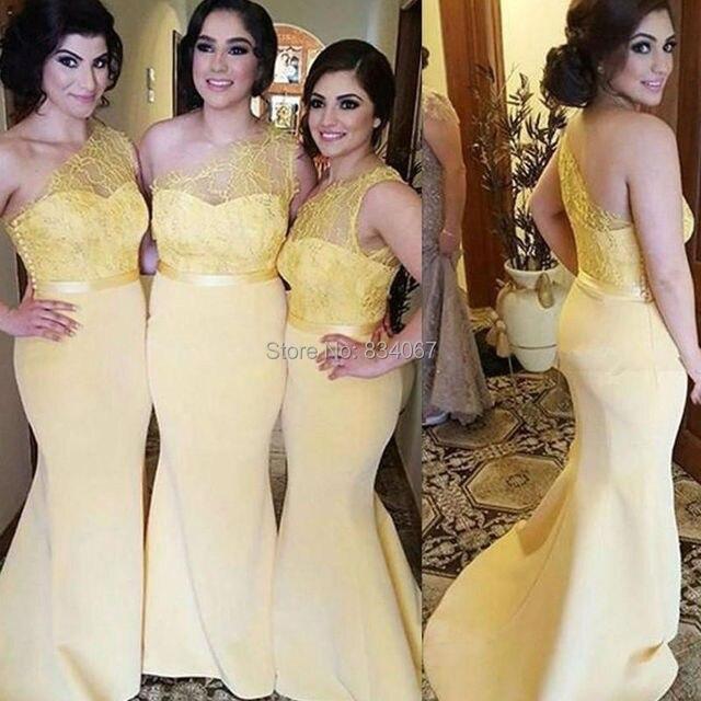 3286d01a7 Amarillo sirena vestidos de dama de honor 2017 vestidos de madrina de  encaje de un hombro