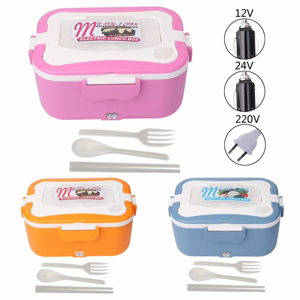 New 1.5L 12V/24V/220V Car/Truck/House Electric Heating Lunch Box Food Warmer 45W multi function electric lunch box stainless steel tank household pluggable electric heating insulation lunch box