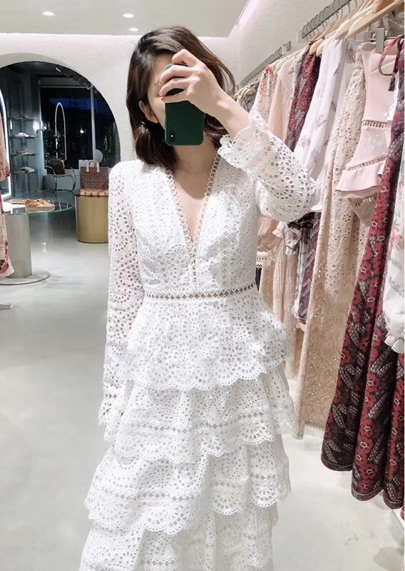 Top Quality Dress New 2018 Autumn Fashion Party Wedding Women Sexy V-Neck Hollow Out Embroidery Cascading Ruffle Long Dress Maxi 4