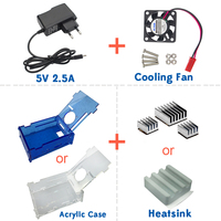 New Arrival Raspberry Pi 3 Accessories Acrylic Case+Cooling fan+Heat sink+5V2.5A Power Charger for Raspberry pi 3 model B