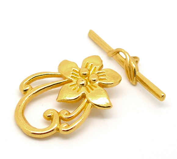 DoreenBeads Zinc Metal Alloy Toggle Clasps Flower Gold Color Flower30mm X20mm(1 1/8