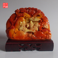 Stone Shoushan Stone Carving Into Elegant Decoration Home Furnishing Feng Shui Stone Crafts Gift Collection Bag