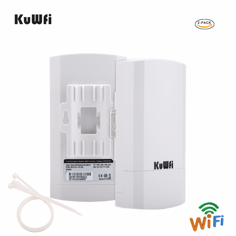 2PCS 2.4Ghz 300Mbps 2KM P2P Wireless Outdoor CPE Wireless Bridge Router Supports WDS Function No setting with LED Display