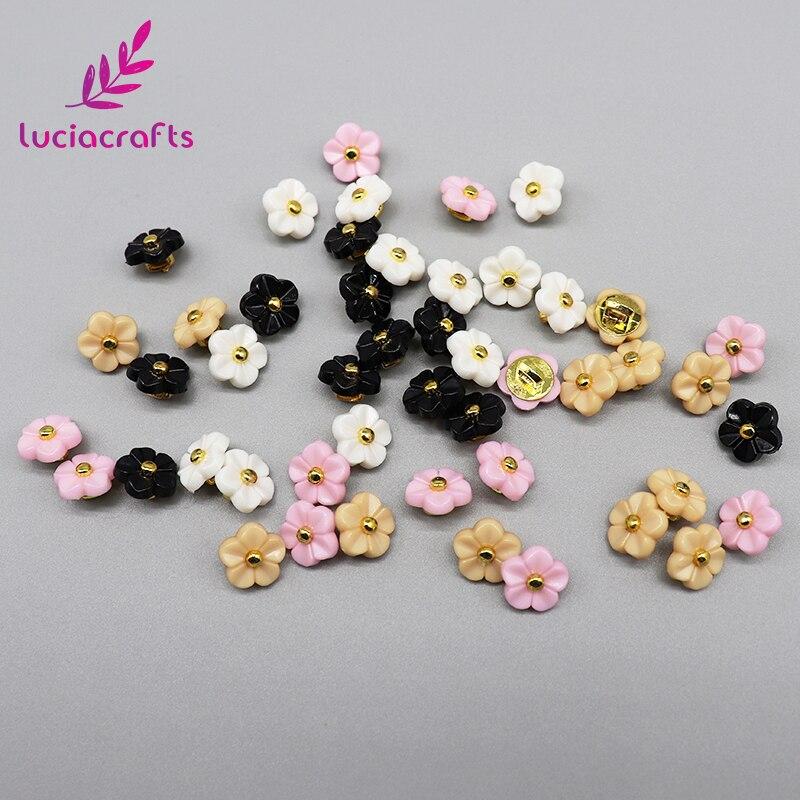 Lucia crafts, 12 шт./лот, 11 мм, цветочные пуговицы, сделай сам, для шитья одежды, пластиковая смола, хвостовик, кнопка, аксессуары для скрапбукинга, E0505