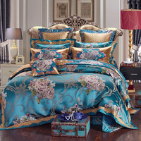 Luxurious silk jacquard Duvet Cover Set wedding Bedding Set Bedspread Pillowcase 4/6/9pcs Duvet Cover Bed Quilt Bedlinen