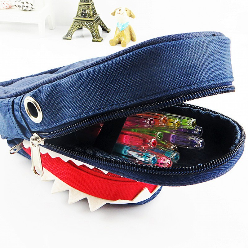 Image 4 - Super Large Capacity Creative Shark Canvas School Pencil Case Pencil Bag Pen Bag with Code Lock-in Pencil Cases from Office & School Supplies